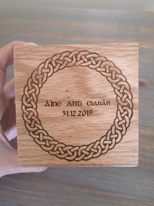 bespoke Irish engraved wedding ring box