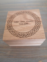 Load image into Gallery viewer, Celtic Knot Oak Wooden Ring Box