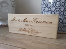 Load image into Gallery viewer, Personalised Mr and Mrs Free Standing Wooden Sign