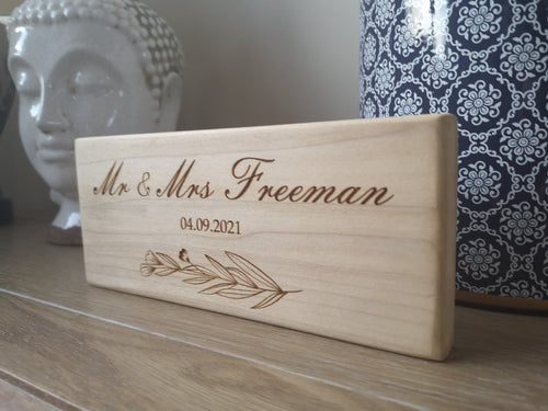 Personalised Mr and Mrs Free Standing Wooden Sign