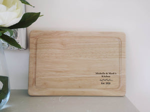 Personalised Laurel Leaf House Warming Chopping Board