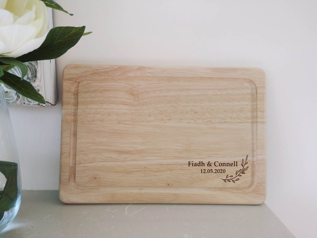 Laurel Leaf Chopping Board Engraved with Names and Date