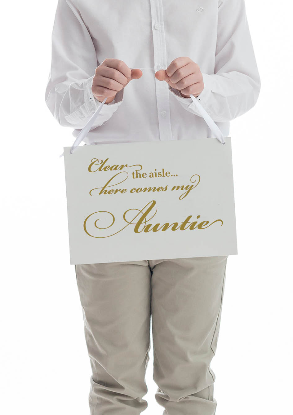 clear the aisle here comes my auntie wedding sign