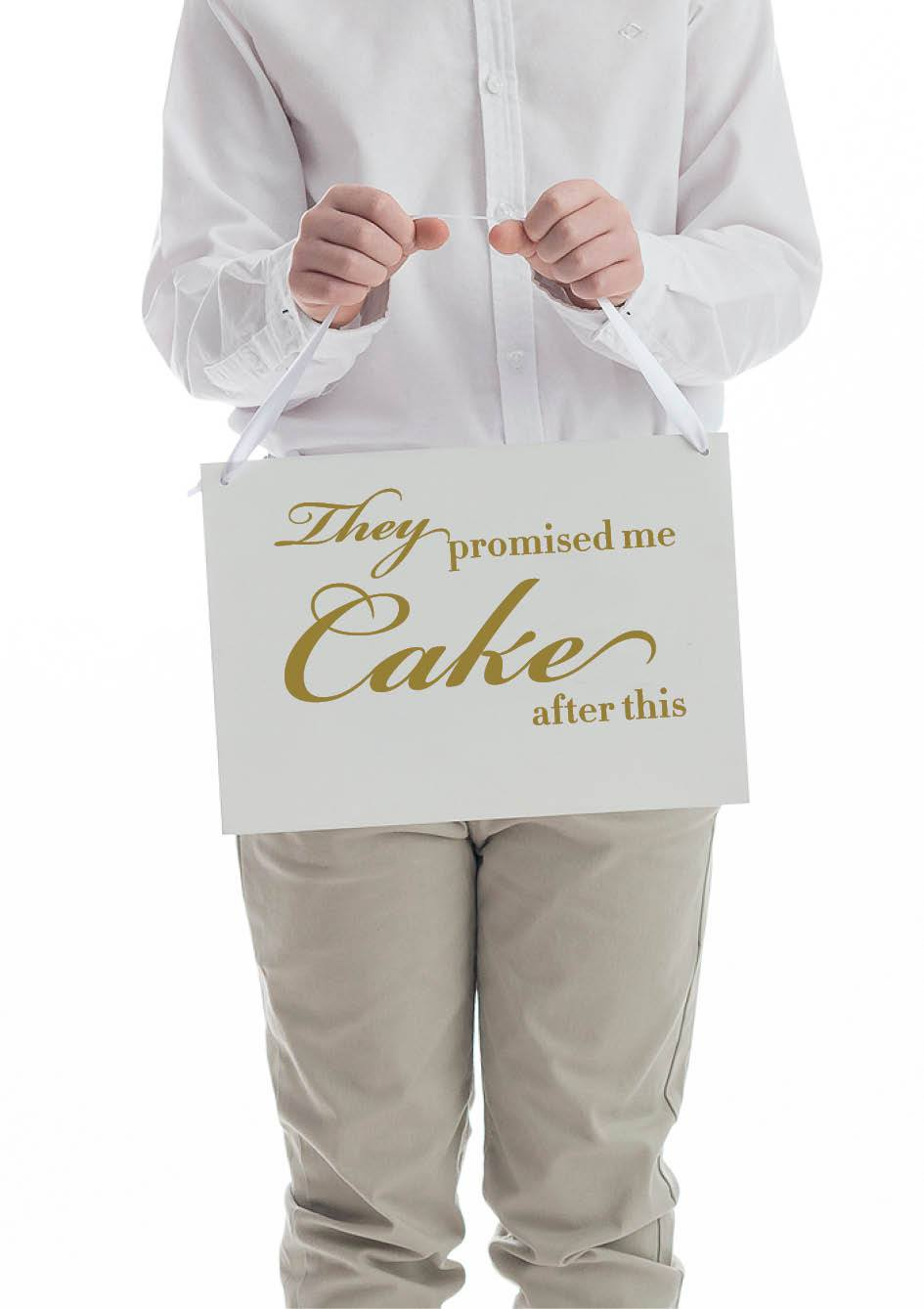 They promised me cake wedding sign