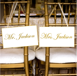 Personalised Wedding Chair Signs
