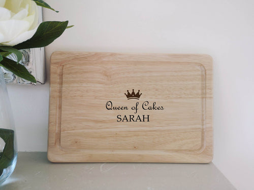 Personalised Queen of Cakes Chopping Board