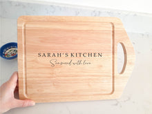 Load image into Gallery viewer, Large Handheld Personalised Seasoned with Love Chopping Board