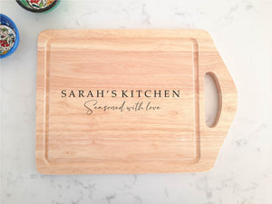 Large Handheld Personalised Seasoned with Love Chopping Board