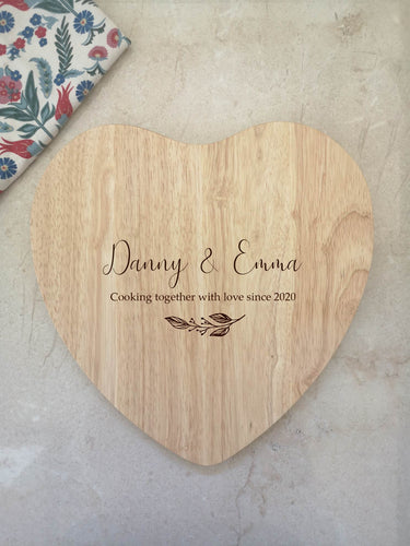 Wooden Personalised Heart Shaped Chopping Board