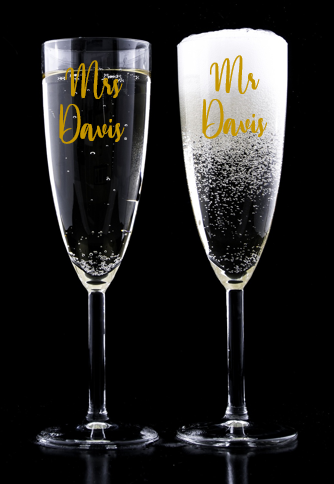 Personalised Wedding Champagne Flute Decals