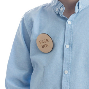 Wooden Page Boy Engraved Badge