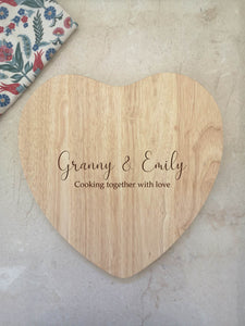 Personalised Granny Heart Shaped Chopping Board