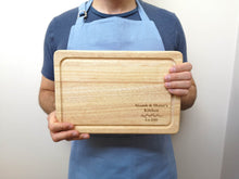 Load image into Gallery viewer, Personalised Laurel Leaf House Warming Chopping Board
