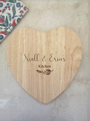 Heart Shaped Personalised 'Kitchen' Chopping Board