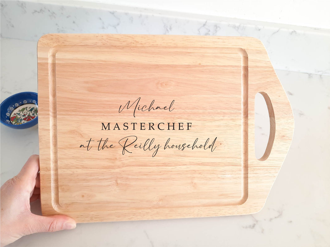 Large Handheld Personalised Masterchef Wooden Chopping Board