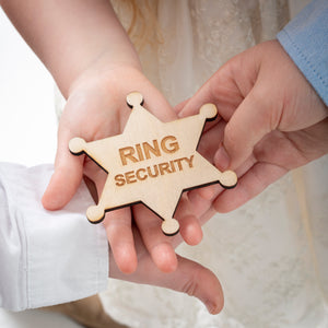 engraved wooden ring security badge