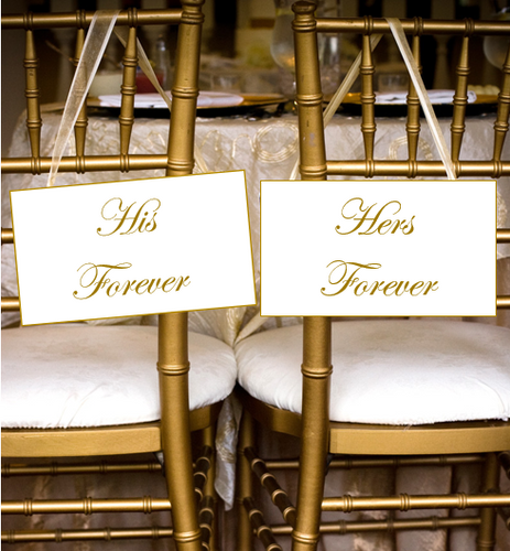 His Forever and Hers Forever Wedding Chair Signs