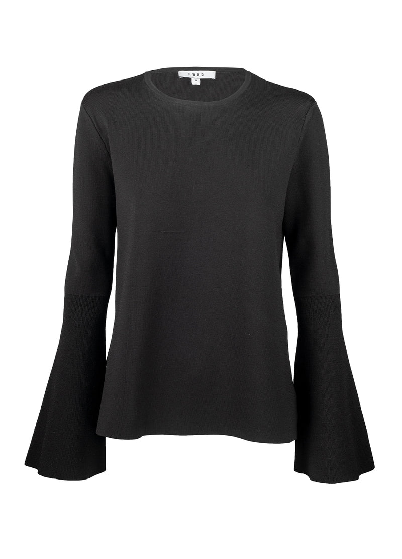 Keena Crepe Knit Top - Black