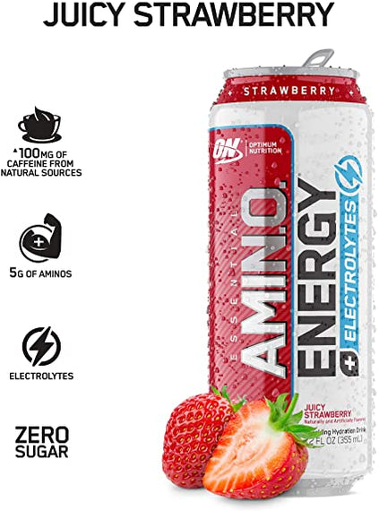 Amino Energy Juicy Strawberry Drink - 16 oz. Can (1pc)