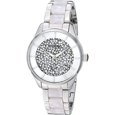 Invicta 25246 Women's Angel Quartz Watch with Stainless-Steel Strap, Silver, 15.8