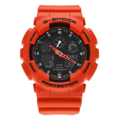 Casio Men's GA100L-4A 'G-Shock' Orange Analog Digital Resin Strap Watch - RED