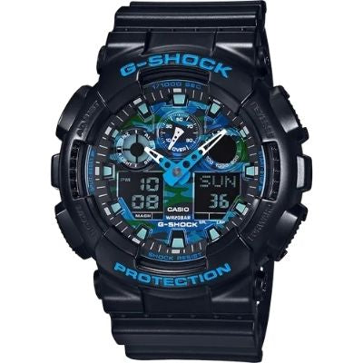 Casio GA100CB-1A Men's G-Shock Resin Sports Watch - Black and Blue