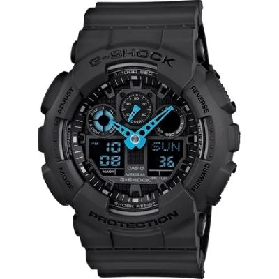 G-Shock Digital Analog Watch in Dark Grey and Neon Blue GA100C-8A