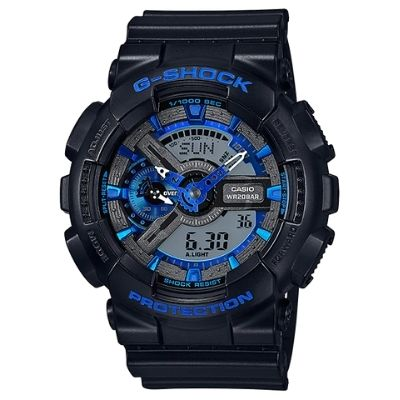 G-Shock Black Resin Band Royal Blue Accents GA-110CB-1A