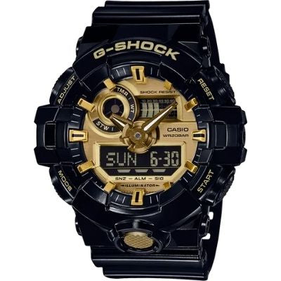 Casio G-Shock Black Resin Gold Accents GA710GB-1A