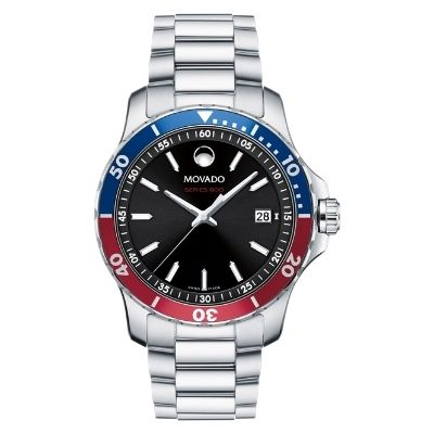 Movado Series 800 Blue and Red Dial Stainless Steel Watch
