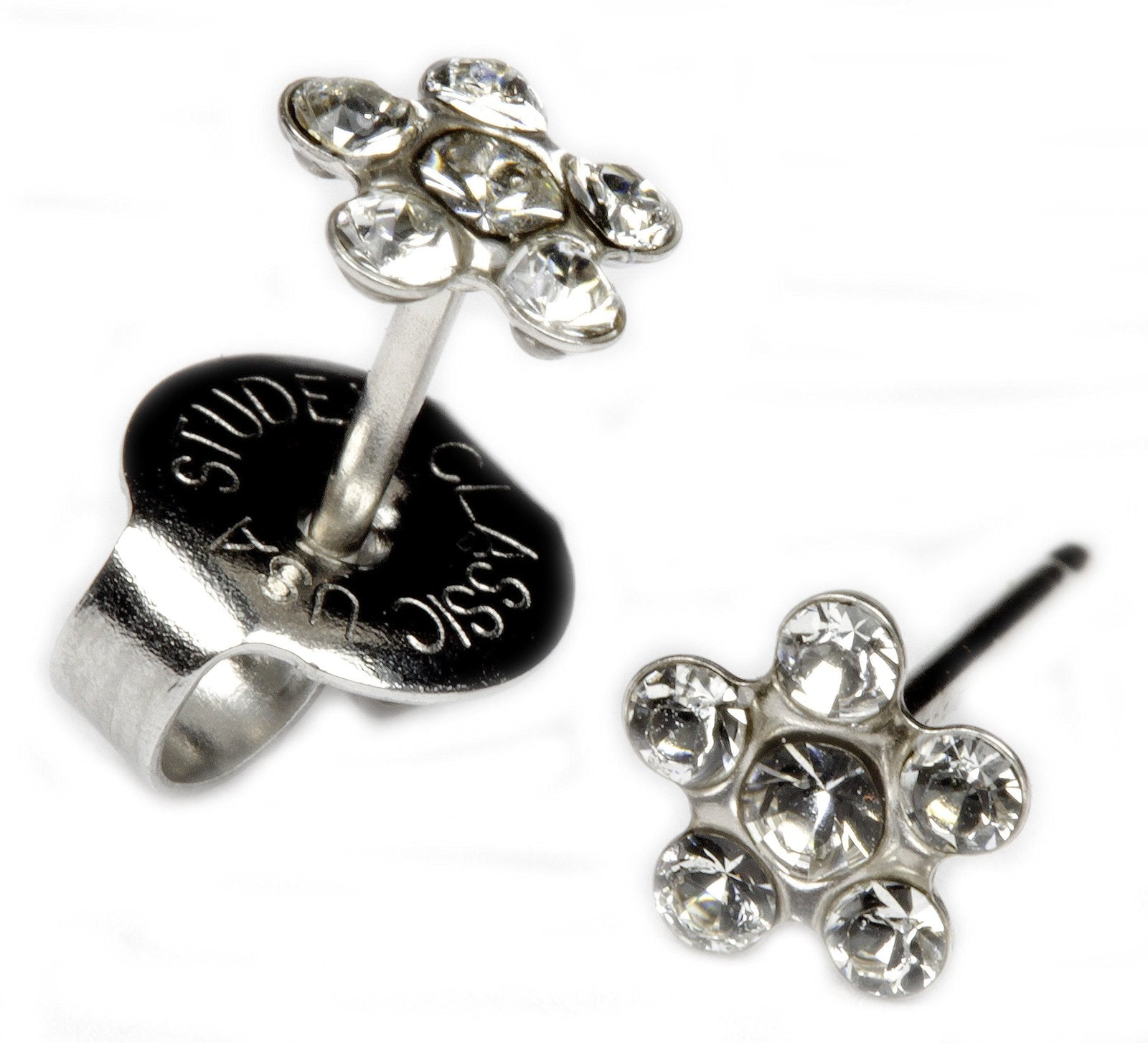 14KT Clear CZ Flower Stud Earrings
