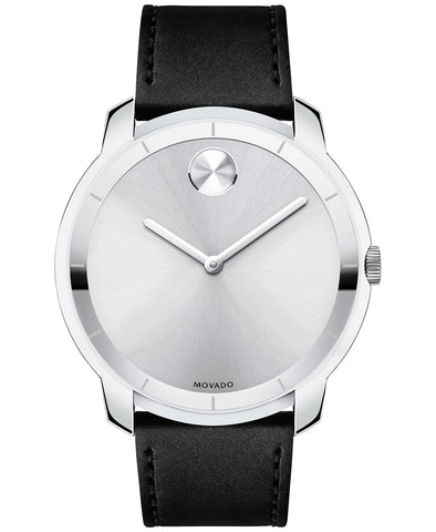 Movado Men's Bold Black Leather Strap Watch