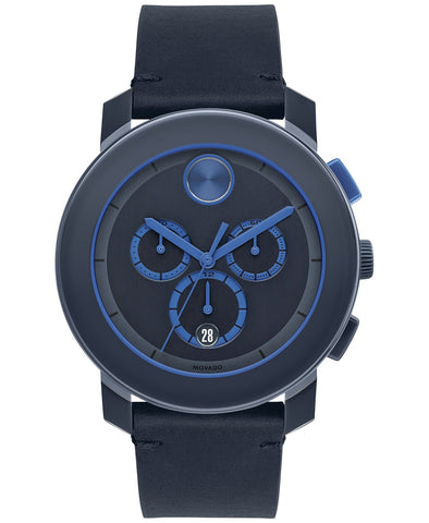 Movado Men's Bold Blue Leather Strap Watch 3600349