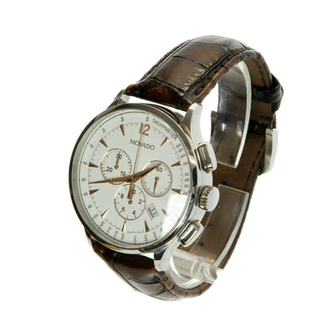 Movado Circa White Dial Brown Leather Watch
