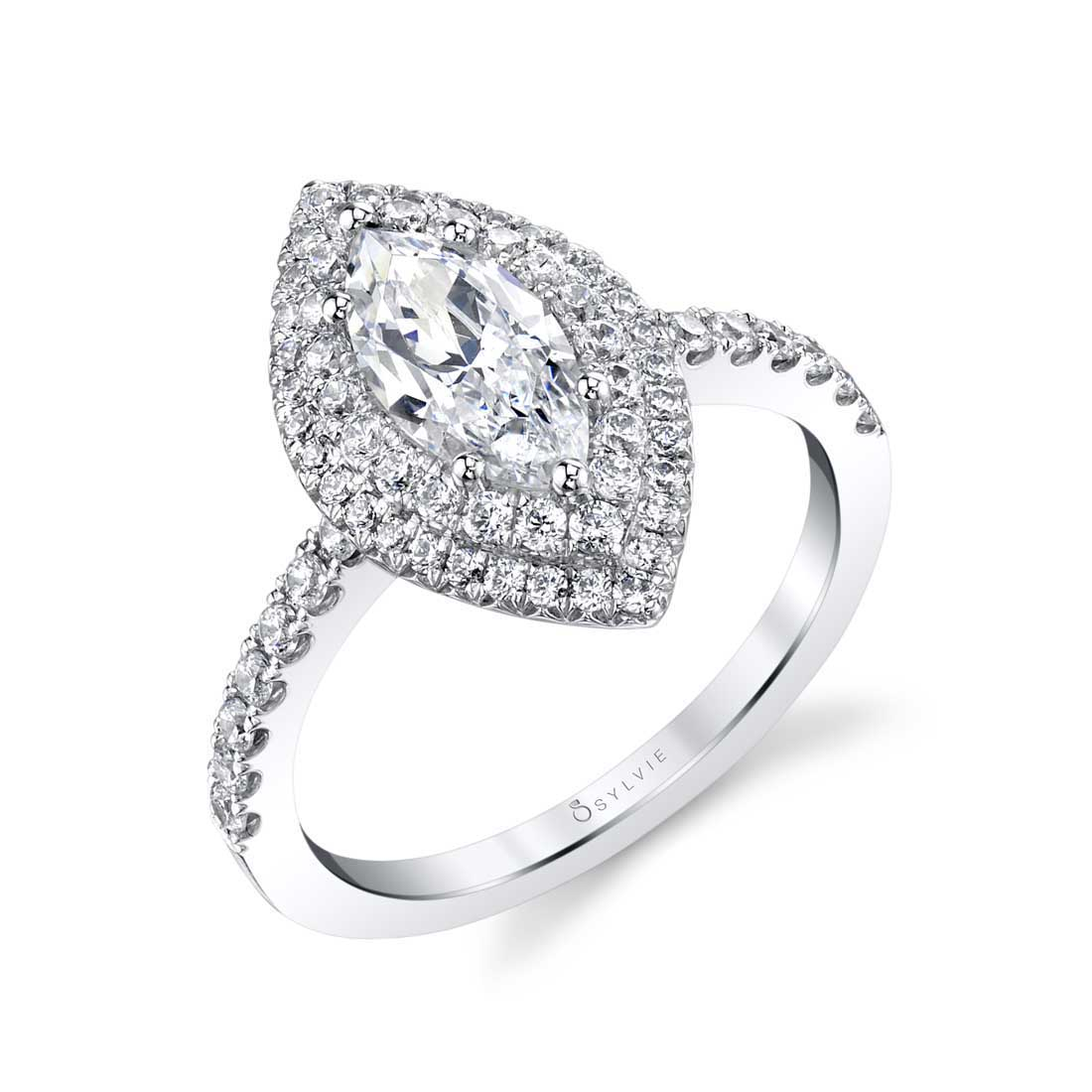 Sylvie - Claudia Marquise Double Halo Engagement Ring