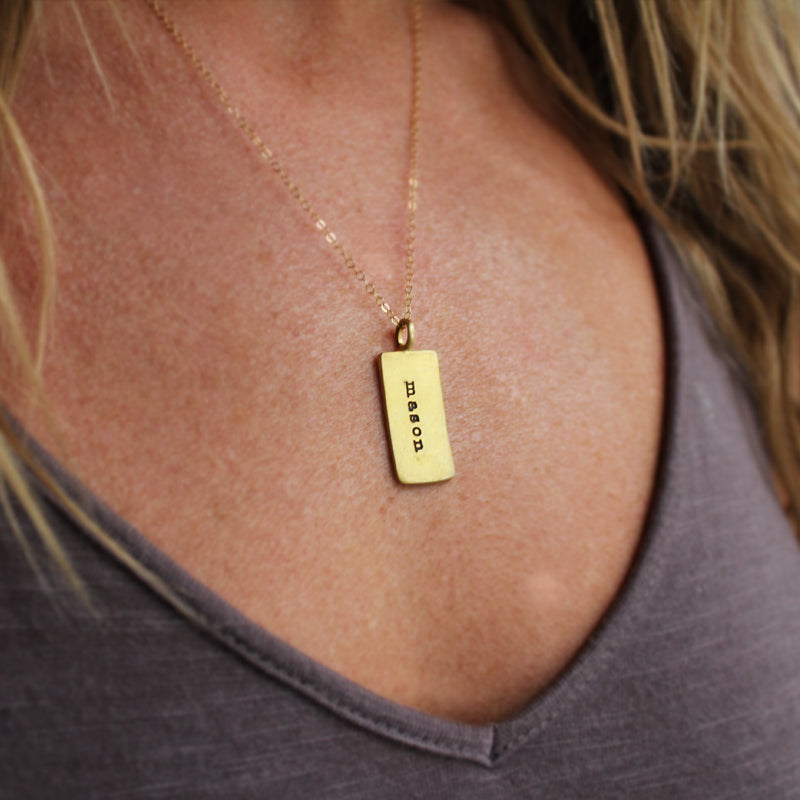 Slate & Tell - Personalized Med Rectangle Pendant