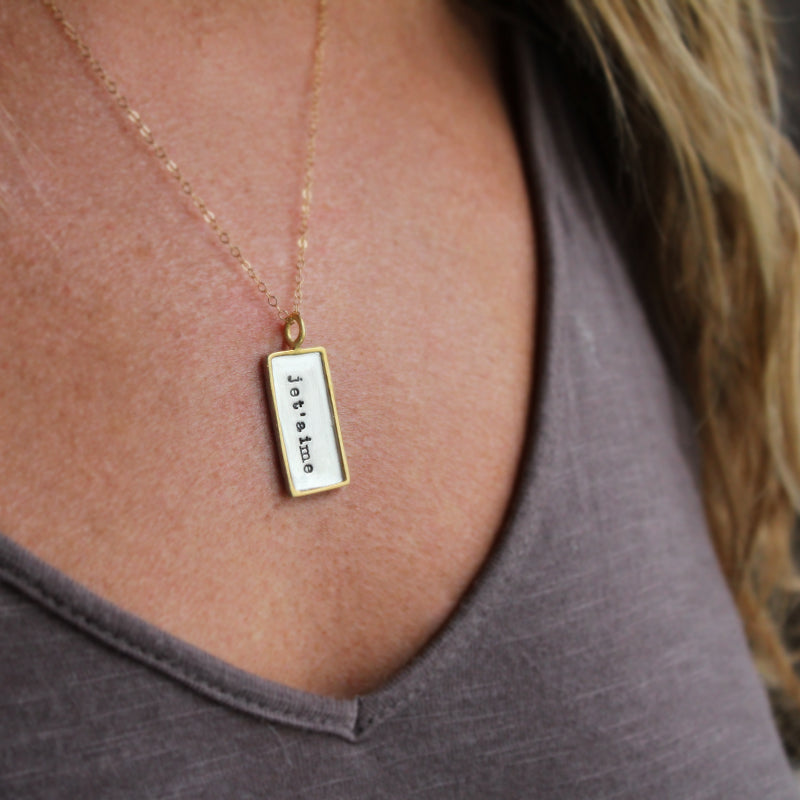 Slate & Tell - Personalized Med Framed Rectangle Pendant