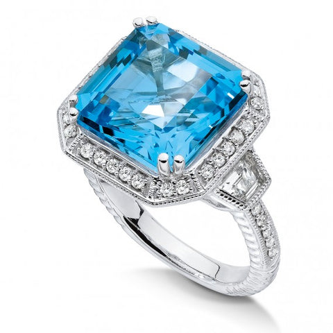 Color SG - Blue topaz and quartz, diamond ring