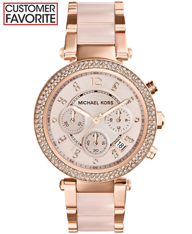 Michael Kors Women's Parker Blush and Rose Gold-Tone