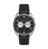 Michael Kors Men's Dane Stainless-Steel and Black Silicone Watch