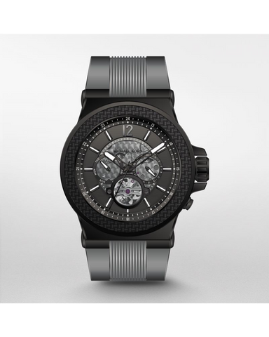 Michael Kors Men's Dylan Black IP and Grey Silicone Automatic Watch