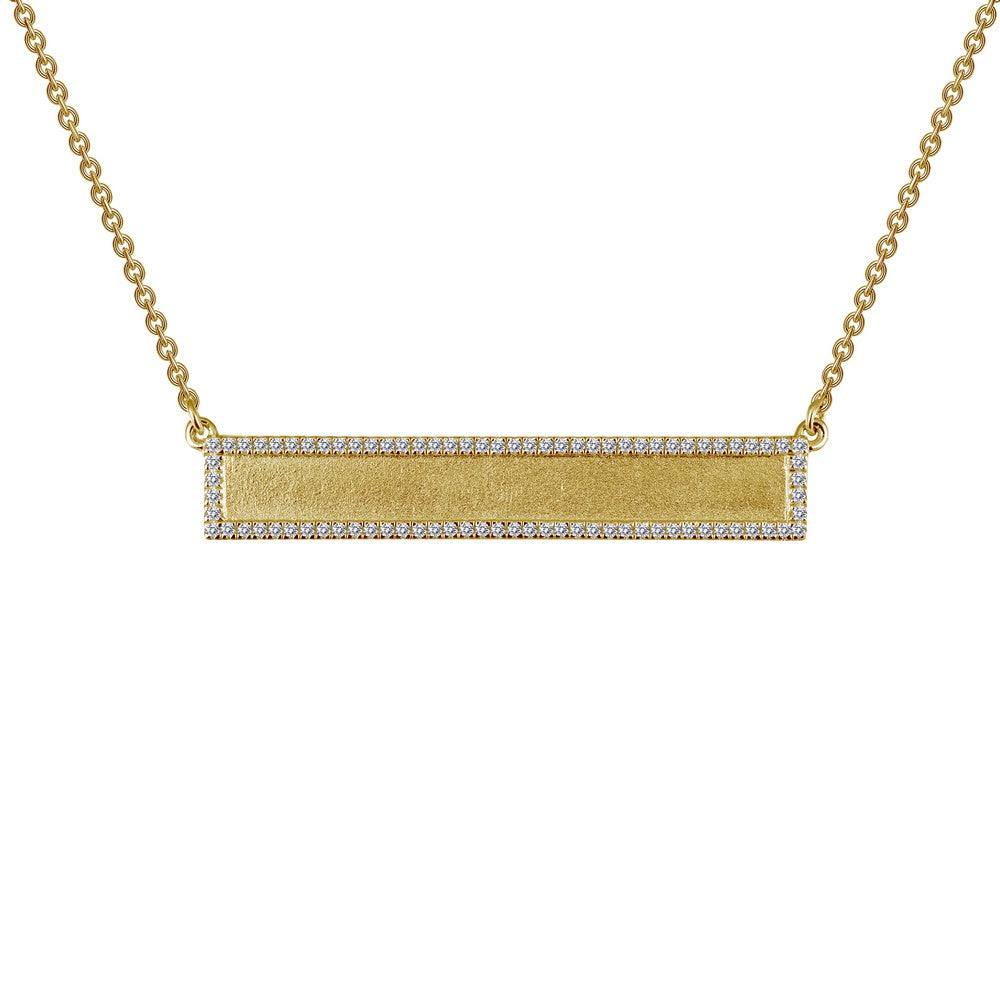 Lafonn Gold-Plated Engravable Bar Necklace