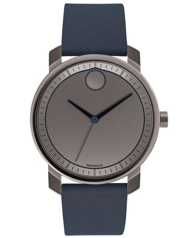 Movado Men's BOLD Navy Leather Strap Watch