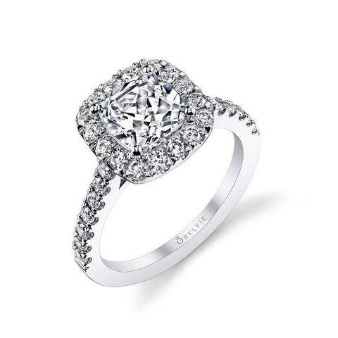 Slyvie Jacalyn - Cushion Cut Engagement Ring With Halo