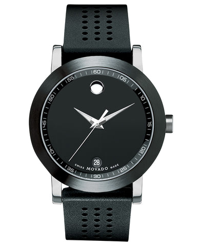 Movado Men's Museum Sport Black Perforated Rubber Strap Watch