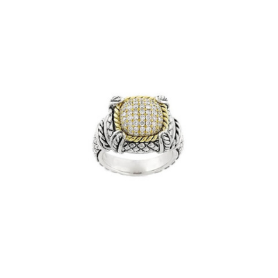 Andrea Candela 18kt and Sterling Silver Pave Diamond Cushion Ring, Diamante