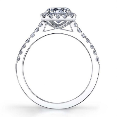 Sylvie - Emma- Cushion Cut Engagement Ring with Halo