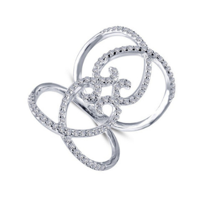 LaFonn Double Heart Open Ring