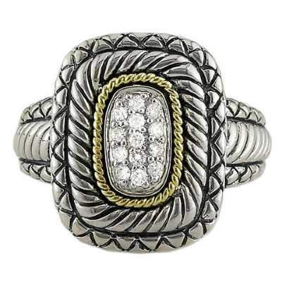 Andrea Candela 18kt and Sterling Silver Pave Rectangle Diamond Ring, Lazo Collection