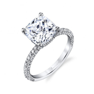 Sylvie - Jayla Cushion Cut Solitaire Engagement Ring with Pave Diamonds